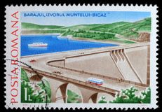 Stamp printed in Romania shows Izvorul Muntelui-Bicaz. A stamp printed in Romania shows Izvorul Muntelui-Bicaz, Hydrotechnic Stations and Dams issue, circa 1978 royalty free stock image