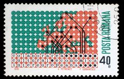 Stamp printed in Romania shows Map of Europe in dot pattern. A stamp printed in Romania shows Map of Europe in dot pattern, circa 1970 royalty free stock photos