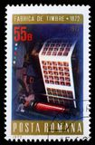 Stamp printed in Romania shows Multicolor printing press, Stamps Factory Centenary Stock Photos