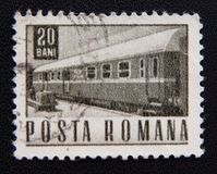 A stamp printed in Romania shows old train, circa 1967 Royalty Free Stock Photography