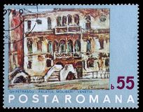 Stamp printed by Romania, shows Painting of Venice by N. Petrascu. Circa 1972 stock images
