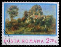 Stamp printed by Romania, shows picture Landscape by Auguste Renoir. A stamp printed by Romania, shows picture Landscape by Auguste Renoir, circa 1974 Stock Images