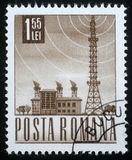 Stamp printed in Romania shows Radio station and tower. A stamp printed in Romania shows Radio station and tower, circa 1971 Stock Photo