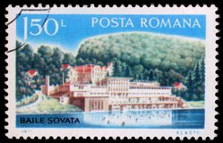 Stamp printed by Romania, shows Romanian river resort in Sovata. Circa 1971 stock photo