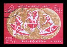 Stamp printed in ROMANIA, shows 1956 Summer Olympics. A stamp printed in ROMANIA, shows 1956 Summer Olympics, Games of the XVI Olympiad, circa 1956 Stock Photo