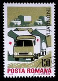 Stamp printed in Romania shows Tent camp and ambulance of the Red Cross, Plight of the Danube flood victims Royalty Free Stock Image