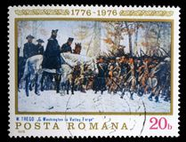 Stamp printed in the Romania shows Washington at Walley Forge. A stamp printed in the Romania shows Washington at Walley Forge, Painting by William B.T. Trego Royalty Free Stock Photo