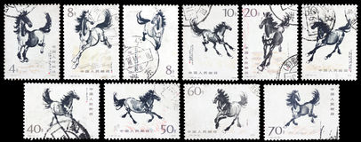Stamp printed running horse Royalty Free Stock Image