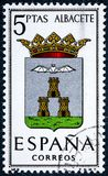 Stamp printed in Spain dedicated to Arms of Provincial Capitals shows Albacete. SPAIN - CIRCA 1962: A stamp printed in Spain dedicated to Arms of Provincial Stock Photos