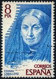 Stamp printed by Spain Fernan Caballero was the pseudonym Royalty Free Stock Photo