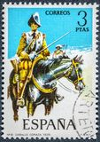 Stamp printed in Spain shows horse chest of 1635 royalty free stock image