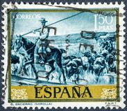 Stamp printed by Spain, shows picture The confinement by Sorolla. SPAIN - CIRCA 1964: stamp printed by Spain, shows picture The confinement painted by Sorolla Royalty Free Stock Photography