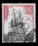 Stamp printed in Spain shows Corvette Atrevida. A stamp printed in Spain from the `Spanish Navy Commemoration. Ships` issue shows Corvette Atrevida, circa 1964 Royalty Free Stock Photos