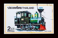 A stamp printed in Thailand shows an image of Thai Steam locomotive year 1990. BANGKOK, THAILAND. - On August‎ ‎2‎, ‎2018. - A stamp printed in Thailand Stock Image