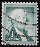 Stamp printed in the United States of America shows George Washington Royalty Free Stock Photo