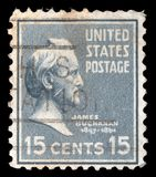 Stamp printed in the United States of America shows James Buchanan. A stamp printed in the United States of America shows James Buchanan, 15th President of USA Stock Photo
