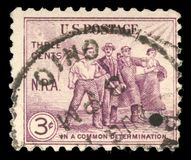 Stamp printed in the United States devoted National Recovery Act, Agriculture, Art, Commerce and Industry Stock Photo