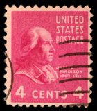A stamp printed in United States. Displays the profile of President James Madison. United States - circa 1938 stock photography