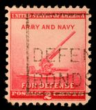 Stamp printed by United states, shows 90-millimeter Antiaircraft Gun Stock Image
