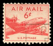Stamp printed in United states USA, shows military transport aircraft Douglas C-54 DC-4 Skymaster Royalty Free Stock Photography