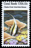 Stamp printed in the USA shows Coral Reefs, Chalice Coral, American Samoa Royalty Free Stock Images