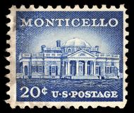 Stamp printed in USA shows Monticello, the estate of Thomas Jefferson Royalty Free Stock Images