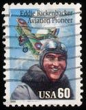 Stamp printed in USA shows portrait of Aviation pioneer Eddie Rickenbecker Stock Photo