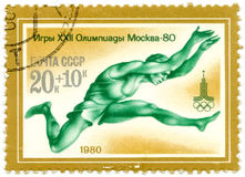 A Stamp Printed By USSR Games Olympics, Moscow - 80, Circa 1980 Stock Photos