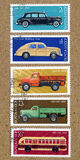 A stamp printed by USSR. Shows Russian cars, Stock Photo