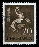 Stamp printed in Yugoslavia dedicated to 100 anniversary of the Croatian National Theater in Zagreb Royalty Free Stock Image