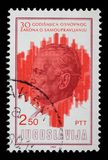 Stamp printed by Yugoslavia dedicated to the 30th anniversary of the Ground Principles of Self Governing System Royalty Free Stock Images