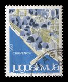 Stamp printed in Yugoslavia shows Crikvenica, Croatia Royalty Free Stock Images