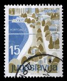 Stamp printed in Yugoslavia shows Portoroz, Slovenia Stock Photography