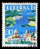 Stamp printed in Yugoslavia shows Sibenik, Croatia Royalty Free Stock Image