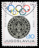 Stamp printed in Yugoslavia shows Olympic games in Mexico Stock Images
