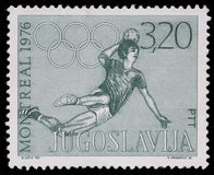 Stamp printed in Yugoslavia shows Olympic games in Montreal Royalty Free Stock Photos