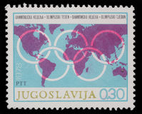 Stamp printed in Yugoslavia shows Olympic week Stock Photos