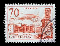 Stamp printed in Yugoslavia shows Sarajevo railway station and obelisk, Bosnia and Herzegovina Stock Photos