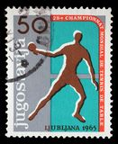 Stamp printed by Yugoslavia shows 28th World Table Tennis Championship in Ljubljana Royalty Free Stock Photography