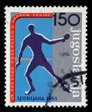Stamp printed by Yugoslavia shows 28th World Table Tennis Championship in Ljubljana Stock Image