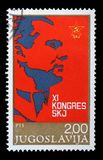 Stamp printed in Yugoslavia for the XI Congress of the Communist Party of Yugoslavia. A stamp printed in Yugoslavia for the XI Congress of the Communist Party of royalty free stock photos