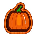 Stamp pumpkin logo flat style. Royalty Free Stock Photos