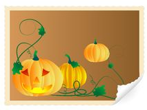 Stamp with pumpkins Royalty Free Stock Photos