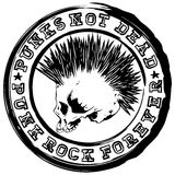 Stamp punk 1. Vector illustration stamp with grunge skull and lettering punks not dead and punk rock forever. Skull with mohawk haircut Stock Image