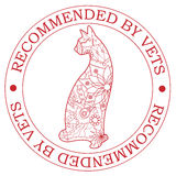 Stamp recommended by vets with cat Royalty Free Stock Images