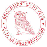 Stamp recommended by vets with owl Royalty Free Stock Photography