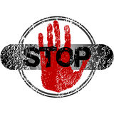 Stamp with red hand and stop sign Stock Photography