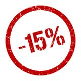 -15% stamp. 15% red round stamp. sale. discount vector illustration