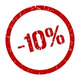-10% stamp. 10% red round stamp. sale. discount. price tag vector illustration