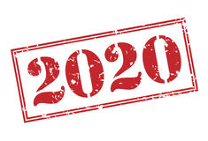 2020 stamp. 2020 red stamp on white background Stock Image